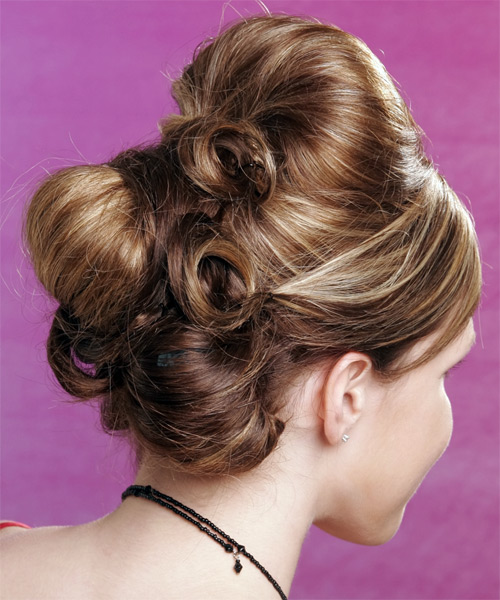 Long Straight Formal   Updo Hairstyle with Side Swept Bangs  - Light Caramel Blonde Hair Color - Side View