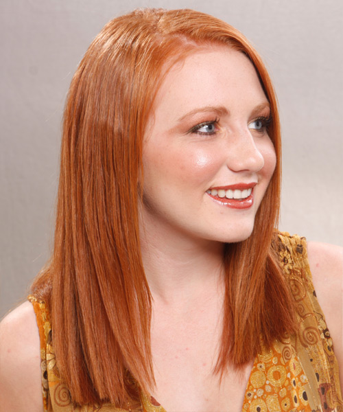 Long Straight Formal   Hairstyle   - Medium Red (Ginger) - Side View