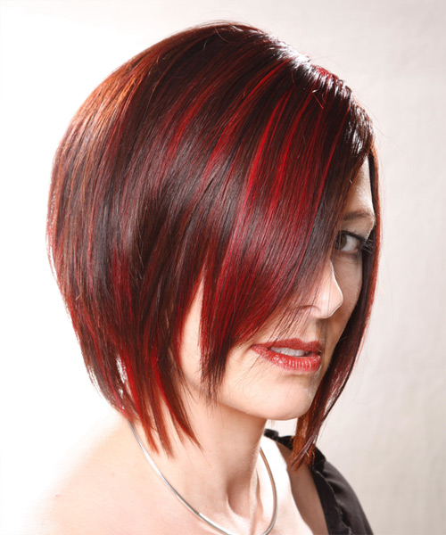 Medium Straight    Bright Red   Hairstyle   - Side View
