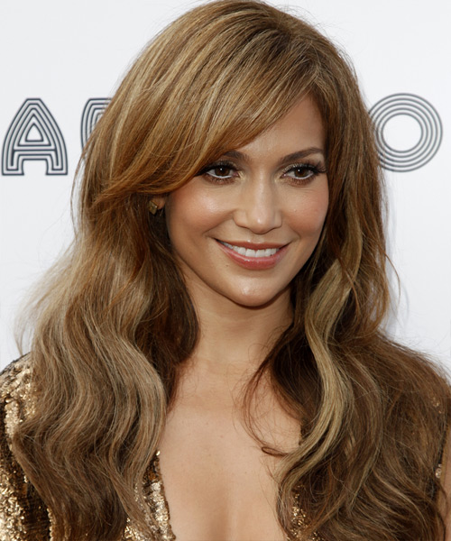 Jennifer Lopez Long Wavy Casual    Hairstyle with Side Swept Bangs  -  Caramel Brunette Hair Color - Side View