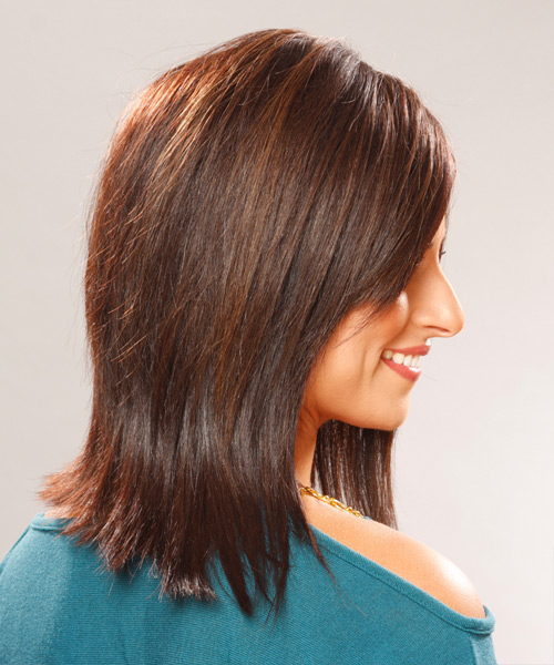 Medium Straight    Chocolate Brunette   Hairstyle with Side Swept Bangs  - Side View