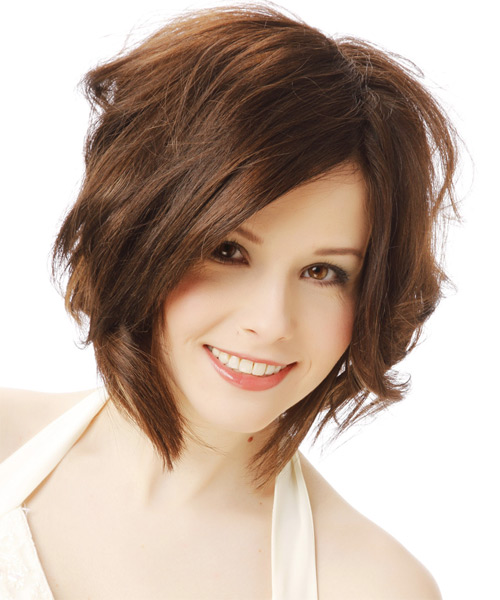 Medium Wavy Casual    Hairstyle   - Chocolate Hair Color - Side View