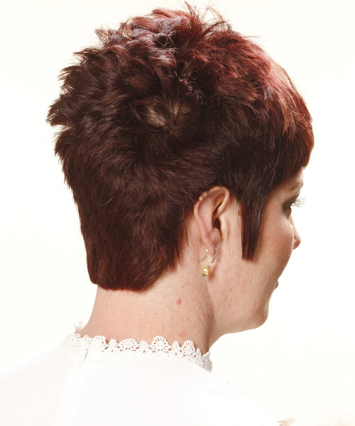 Short Straight Casual    Hairstyle   - Light Auburn Brunette Hair Color - Side View