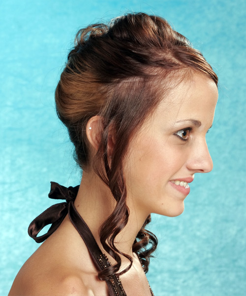 Long Curly   Mocha  Updo    - Side View