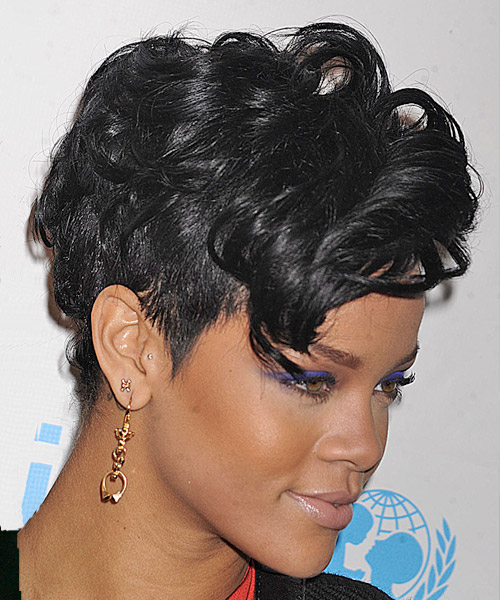 Rihanna Short Wavy Alternative Undercut  Hairstyle   - Black - Side View