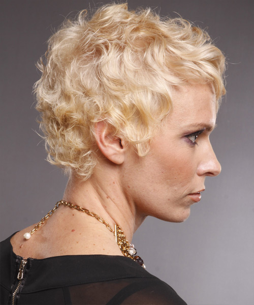 Short Wavy Formal    Hairstyle with Layered Bangs  - Light Blonde Hair Color - Side View