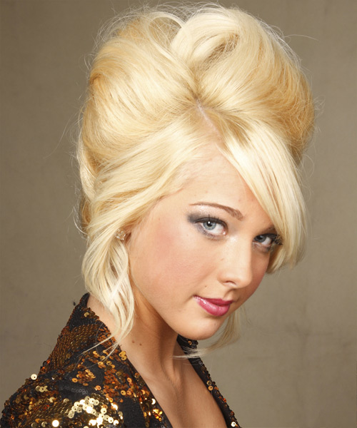 Updo Long Straight Formal Wedding Updo Hairstyle with Side Swept Bangs  - Light Blonde (Golden) - Side View