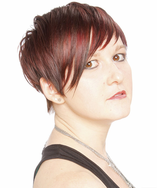 Short Straight Casual    Hairstyle with Layered Bangs  -  Burgundy Red Hair Color - Side View