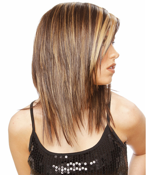 Long Straight Casual   Hairstyle   - Medium Brunette (Golden) - Side View