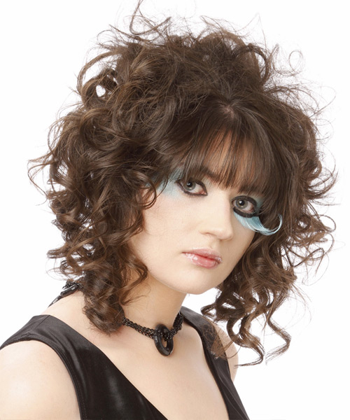 Medium Curly Casual    Hairstyle with Blunt Cut Bangs  -  Brunette Hair Color - Side View