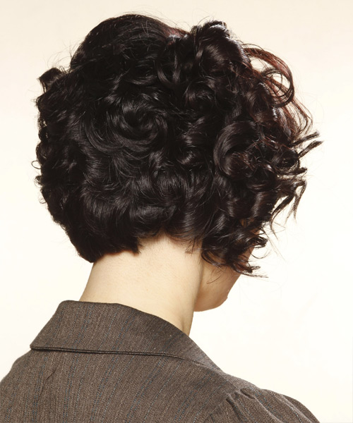 Short Curly Formal   Hairstyle with Blunt Cut Bangs  (Mocha) - Side View