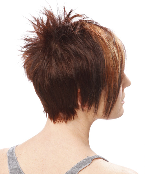 Short Straight    Auburn Brunette   Hairstyle   - Side View