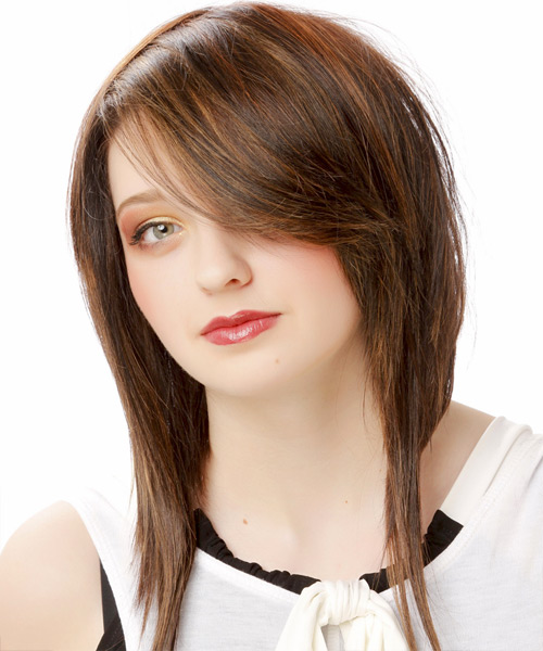 Medium Straight Casual   Hairstyle with Side Swept Bangs  - Dark Brunette (Chocolate) - Side View