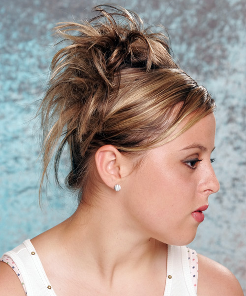 Long Straight    Updo  with Side Swept Bangs  - Side View