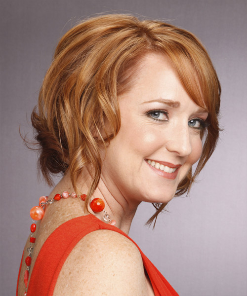 Medium Wavy Formal   Hairstyle with Side Swept Bangs  (Copper) - Side View