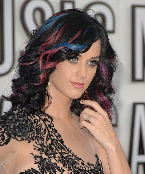 Katy Perry Long Wavy Formal   Hairstyle   (Bright) - Side View