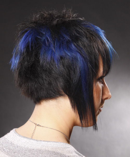 Short Straight Alternative    Hairstyle   - Black Ash  Hair Color with Blue Highlights - Side View