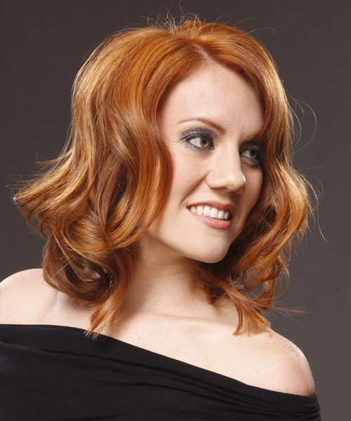 Medium Wavy Casual    Hairstyle   - Light Copper Red Hair Color - Side View