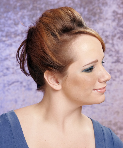 Long Straight   Light Copper Brunette  Updo  with Side Swept Bangs  - Side View