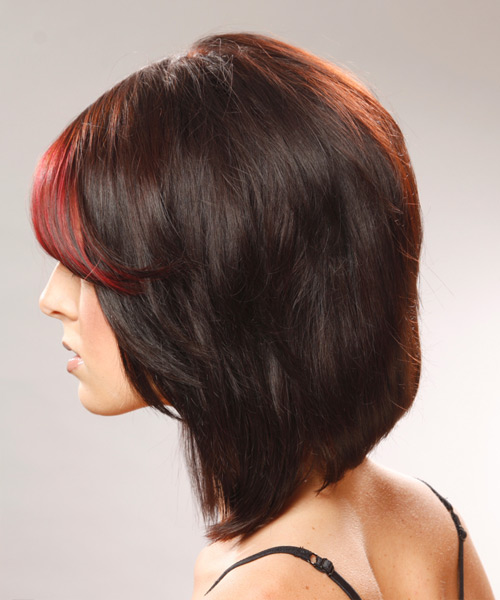 Medium Straight Casual    Hairstyle   - Black Ginger  and Medium Red Two-Tone Hair Color - Side View