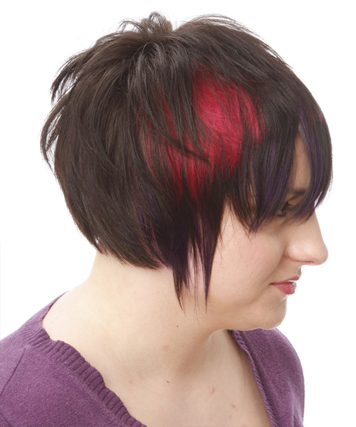 Short Straight Alternative    Hairstyle   - Black Plum  and Pink Two-Tone Hair Color with Blue Highlights - Side View