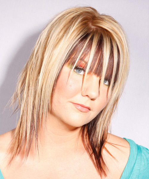 Medium Straight   Light Blonde and  Brunette Two-Tone   Hairstyle   - Side View