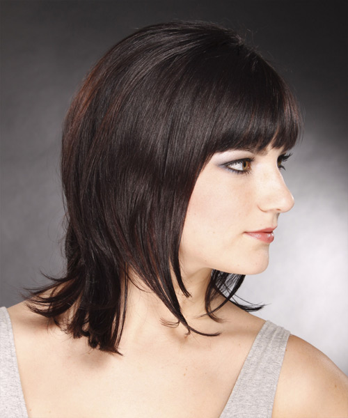 Medium Straight Formal    Hairstyle with Blunt Cut Bangs  - Dark Mocha Brunette Hair Color - Side View