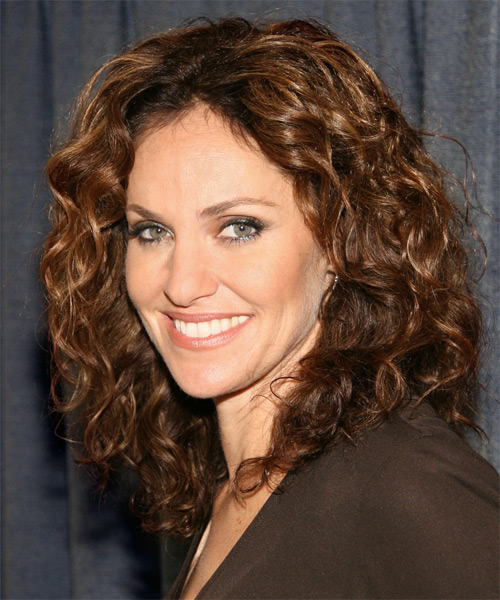 Amy Brenneman Long Curly    Golden Brunette   Hairstyle   - Side View
