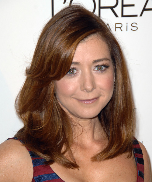 Alyson Hannigan Medium Straight Casual    Hairstyle with Side Swept Bangs  - Auburn Hair Color - Side View