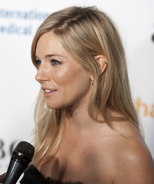 Sienna Miller Long Straight Formal    Hairstyle   -  Golden Blonde and Light Blonde Two-Tone Hair Color - Side View
