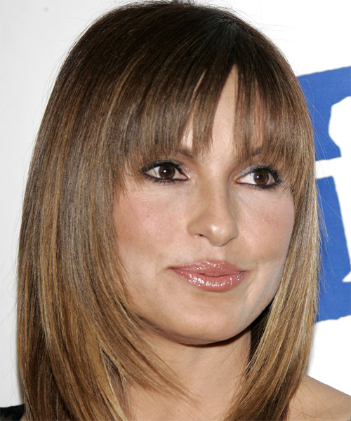 Mariska Hargitay Medium Straight Formal    Hairstyle with Blunt Cut Bangs  - Light Caramel Brunette Hair Color - Side View