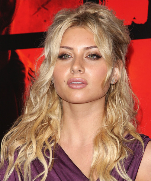 Alyson Michalka Half Up Long Curly Casual  Half Up Hairstyle   - Side View