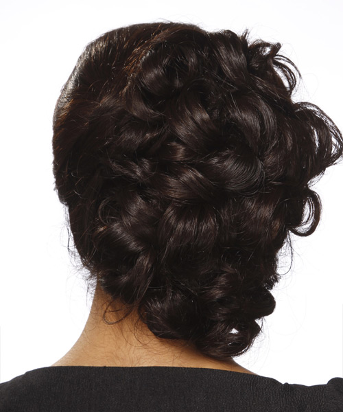 Long Curly Formal   Updo Hairstyle   - Dark Brunette Hair Color - Side View