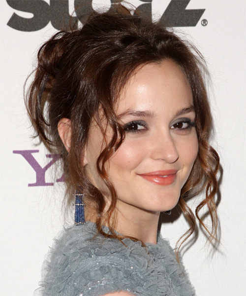 Leighton Meester  Long Curly Casual   Updo Hairstyle   -  Chestnut Brunette Hair Color - Side View