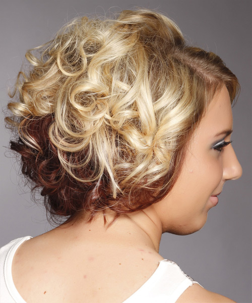 Medium Curly Formal    Hairstyle   - Light Golden Blonde and Champagne Two-Tone Hair Color - Side View