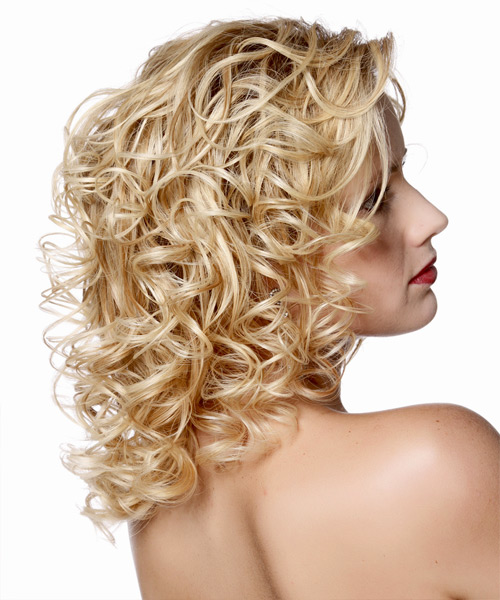 Medium Curly Formal    Hairstyle   - Light Golden Blonde Hair Color - Side View