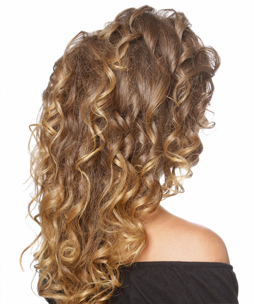 Long Curly Formal   Updo Hairstyle   - Light Golden Brunette Hair Color - Side View