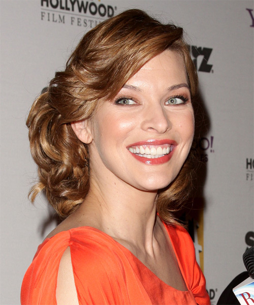 Milla Jovovich Medium Curly  Light Copper Brown Updo
