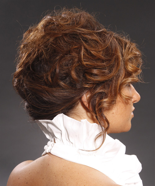 Long Curly Formal   Updo Hairstyle   - Medium Brunette Hair Color - Side View