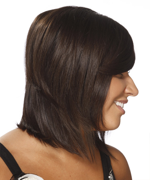 Medium Straight Formal    Hairstyle with Side Swept Bangs  - Dark Chocolate Brunette Hair Color - Side View