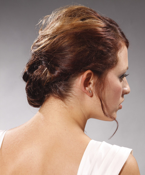 Long Curly Formal   Updo Hairstyle   -  Burgundy Brunette Hair Color - Side View