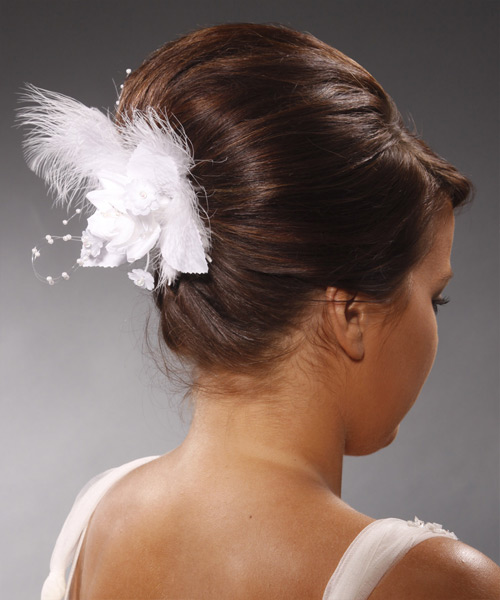 Long Straight Formal   Updo Hairstyle with Side Swept Bangs  - Medium Chocolate Brunette Hair Color - Side View
