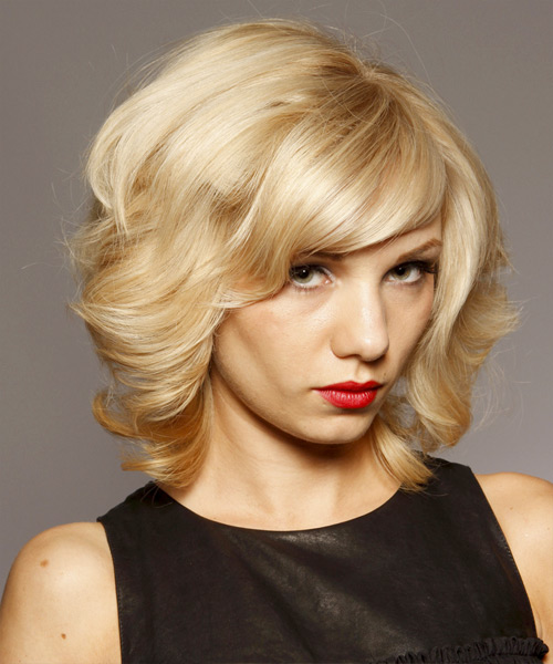 Medium Curly Formal Layered Bob  Hairstyle with Side Swept Bangs  - Light Blonde Hair Color - Side View