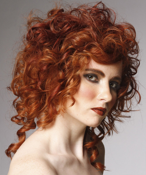 Medium Curly Formal    Hairstyle   - Medium Ginger Red Hair Color - Side View