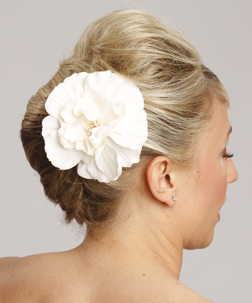 Long Straight Formal   Updo Hairstyle with Side Swept Bangs  - Light Champagne Blonde Hair Color - Side View