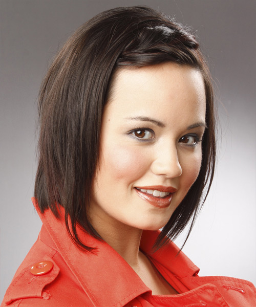 Medium Straight Formal   Hairstyle   - Black - Side View