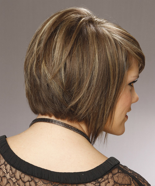 Medium Straight    Caramel Brunette Bob  Haircut with Side Swept Bangs  and Light Blonde Highlights - Side View