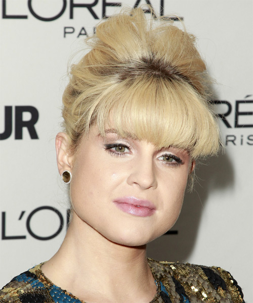 Kelly Osbourne  Long Straight   Light Blonde and  Brunette Two-Tone  Updo  with Blunt Cut Bangs  - Side View