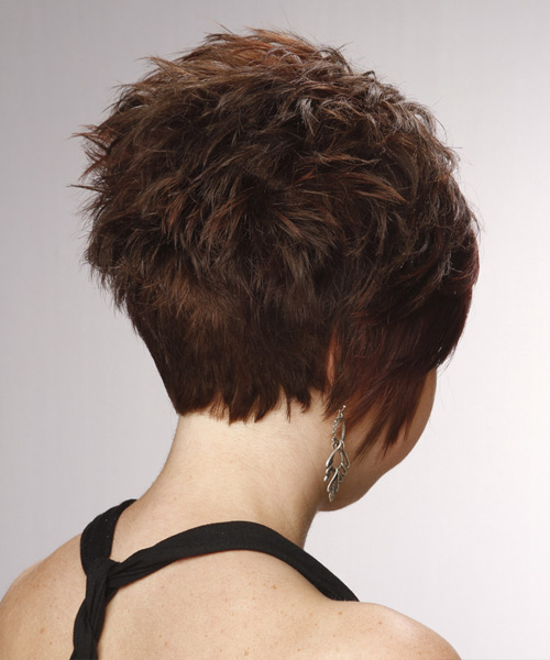 Layered   Chocolate Brunette Pixie  Cut with Side Swept Bangs  - Side View