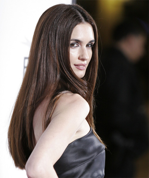 Paz Vega Long Straight Formal Hairstyle Chocolate Hair Color